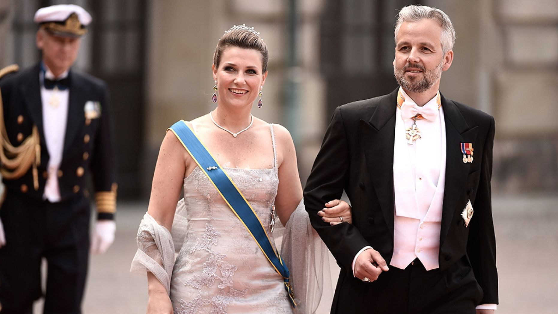 Princess Martha Louise of Norway and her husband Ari Behn attend the royal wedding of Prince Carl Philip of Sweden and Sofia Hellqvist at The Royal Palace on June 13, 2015