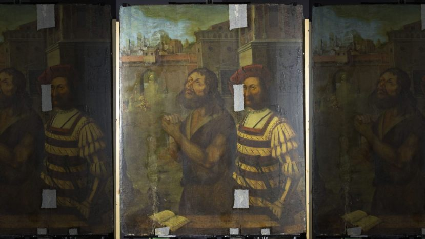 The painting as it appears today. It depicts the beheading of St. John the Baptist.