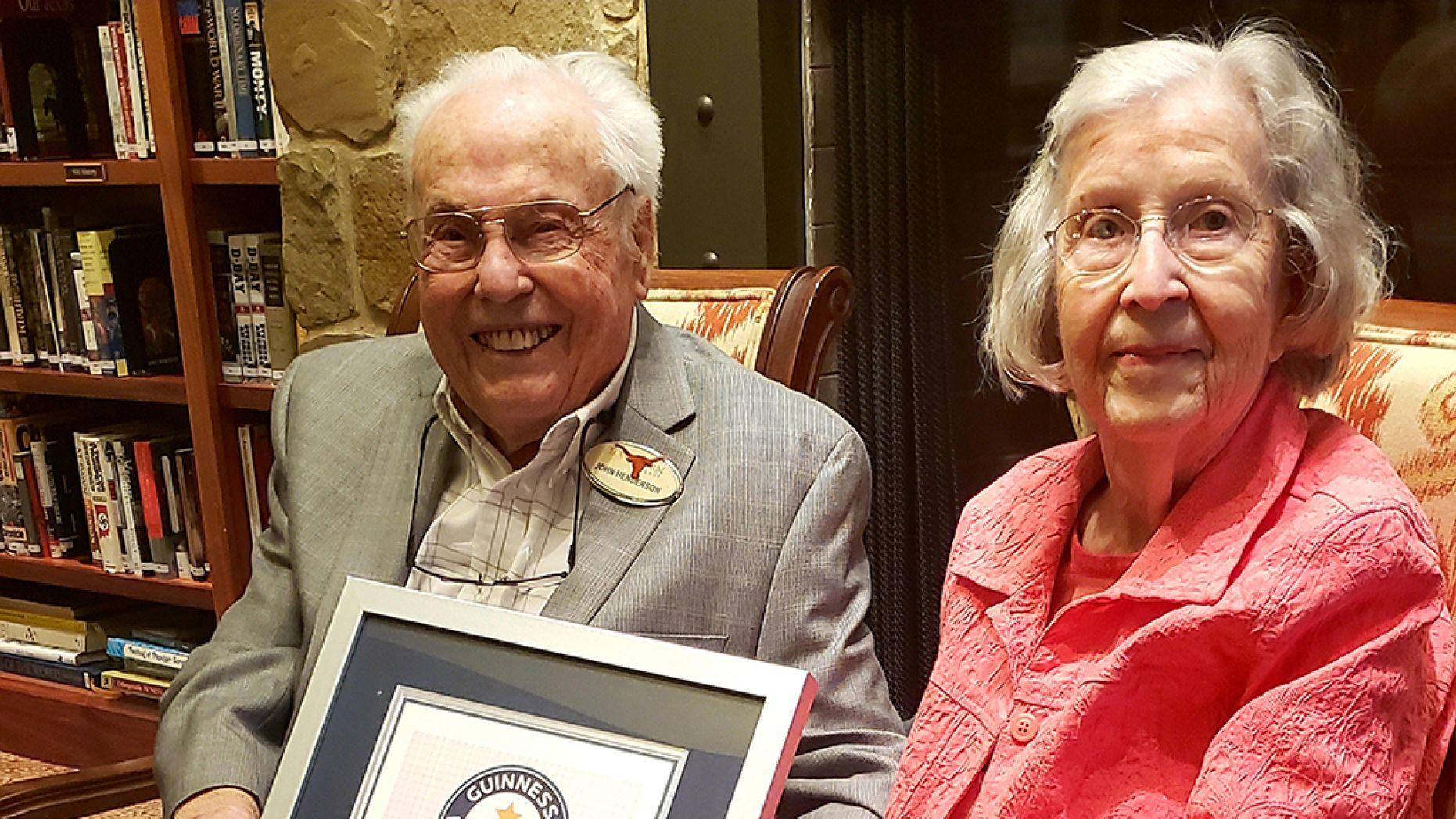 Texas pair John Henderson, 106, and Charlotte Curtis, 105, celebrated their latest wedding anniversary Dec. 15.
