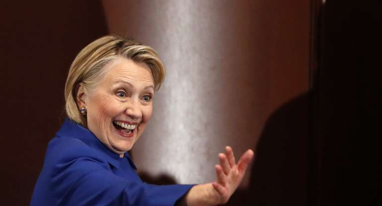 Former Secretary of State Hillary Clinton waves to well-wishers following an appearance at Barnard College with New York Governor Andrew Cuomo, Monday, Jan. 7, 2019.