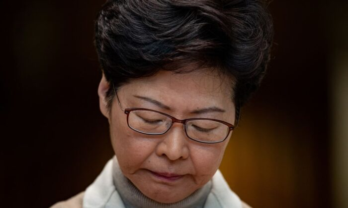 Hong Kong leader Carrie Lam speaks at a press conference in Hong Kong on Dec. 10, 2019.