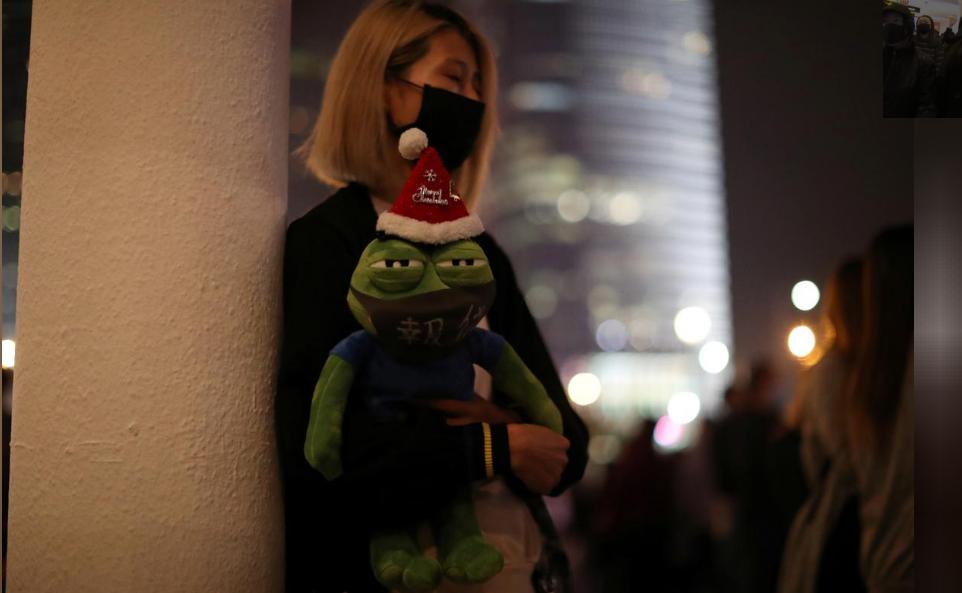 A Hong Kong protester attends a rally in Hong Kong, China, December 23, 2019.