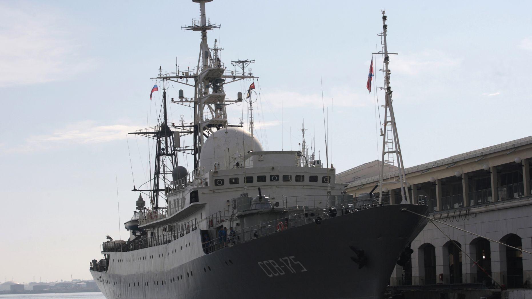 The Russian spy ship Viktor Leonov in 2014