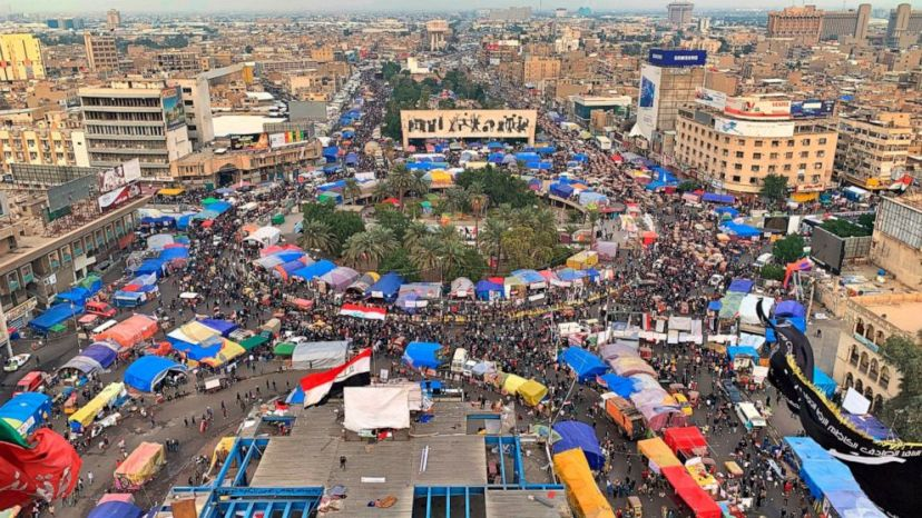 Anti-government protesters gather in Tahrir Square during ongoing protests in Baghdad, Iraq, Tuesday, Dec. 10, 2019.