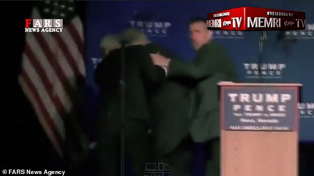 The images, released by Iranian news agency Fars, manipulate real-life footage of Trump being ushered off-stage during a Nevada rally on November 5, amid fears an audience member had a gun