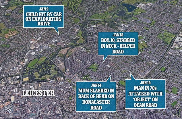 A map showing the incidents dotted around the Leicester area over a two week period.