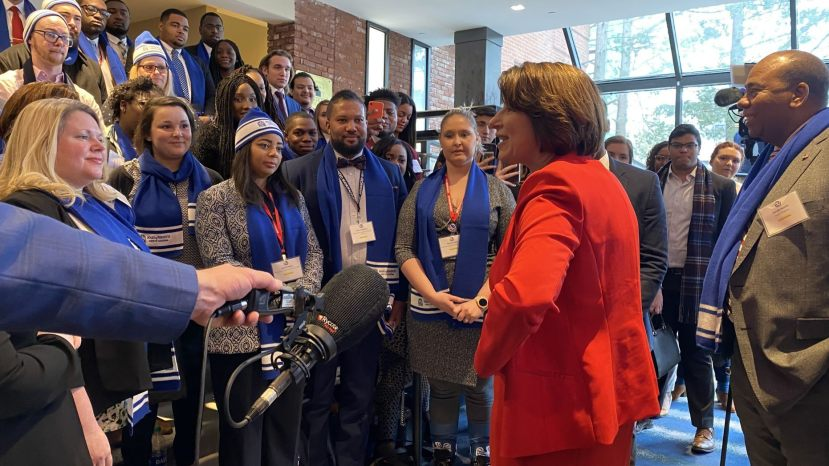 Democratic presidential candidate Sen. Amy Klobuchar of Minnesota speaks with members of the College Convention, in Manchester, NH on Jan. 7, 2020.