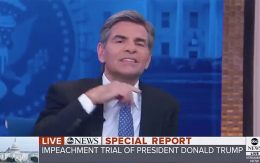 ABC News anchor George Stephanopoulos was cut on camera making a throat-slash gesture on Thursday.