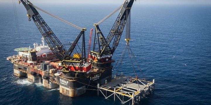 A view of the Israeli Leviathan gas processing rig in the Mediterranean Sea, Jan. 31, 2019. Photo: Marc Israel Sellem / Pool.