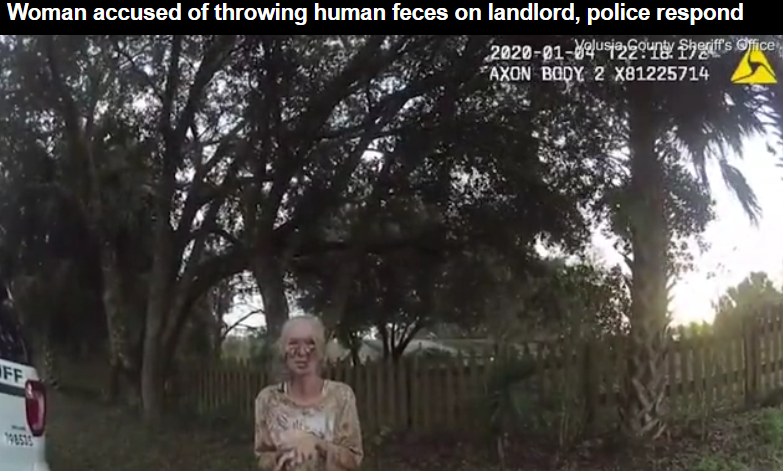 Police bodycam footage, recorded in response to the incident, shows Mercader (pictured) was also left covered in human waste following her encounter with the landlord.