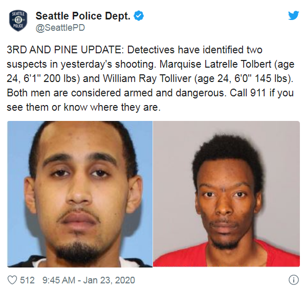 "Marquise Latrelle Tolbert (age 24, 6'1"" 200 lbs) and William Ray Tolliver (age 24, 6'0"" 145 lbs). Both men are considered armed and dangerous. Call 911 if you see them or know where they are."