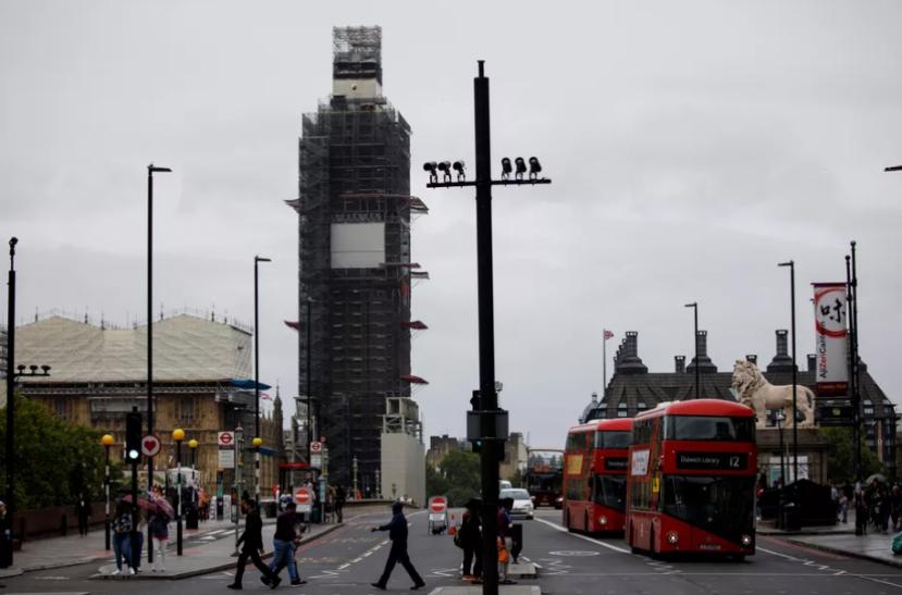 CCTV cameras on London's Westminster Bridge. Photo credit should read TOLGA AKMEN/AFP via Getty Images