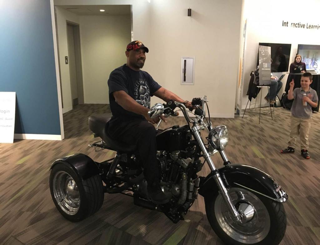 Charles Zollicoffer on the trike he received from CAMVETS (Submitted photo/TNS)