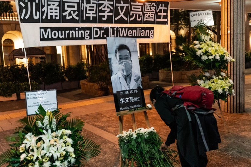 Pictured: A vigil to mourn Wenliang on February 7 in Hong Kong. (Photo by Anthony Kwan/Getty Images)