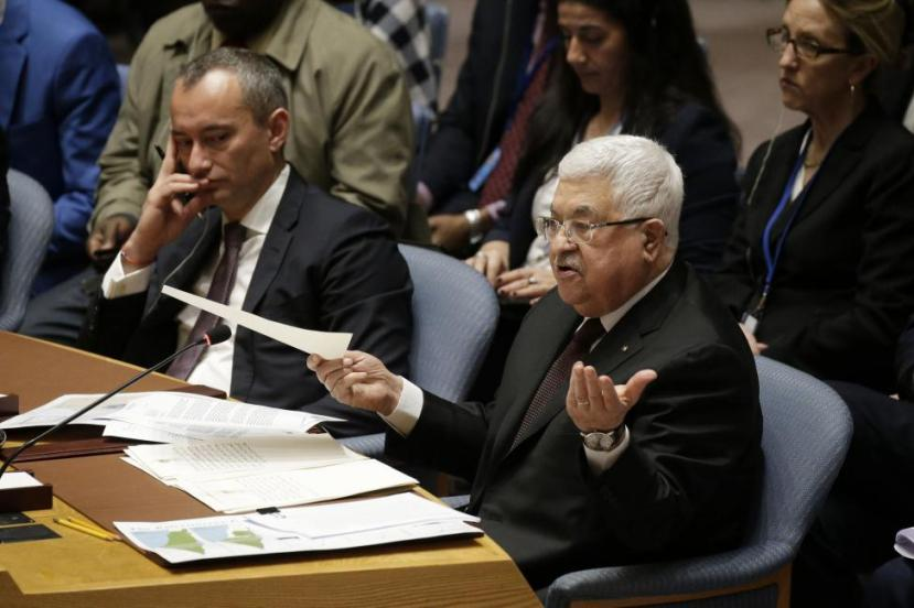 Palestinian leader Mahmoud Abbas addresses the U.N. Security Council Tuesday at U.N. headquarters in New York City.