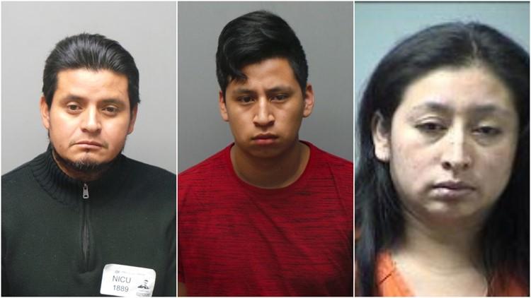 Left: Francisco Javier Gonzalez-Lopez; Center: Norvin Leonidas Lopez-Cante; Right: Lesbia Cante St. Charles police