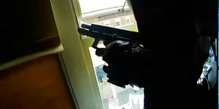 A still image from police body-camera footage of the shootout at a kosher supermarket in Jersey City, New Jersey, Dec. 10, 2019. Photo: Screenshot.