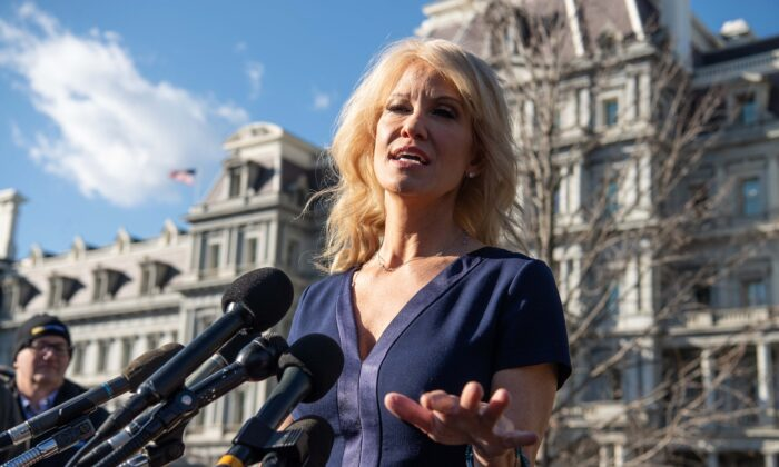 White House counselor Kellyanne Conway speaks to reporters outside the White House in Washington on Jan. 16, 2020.