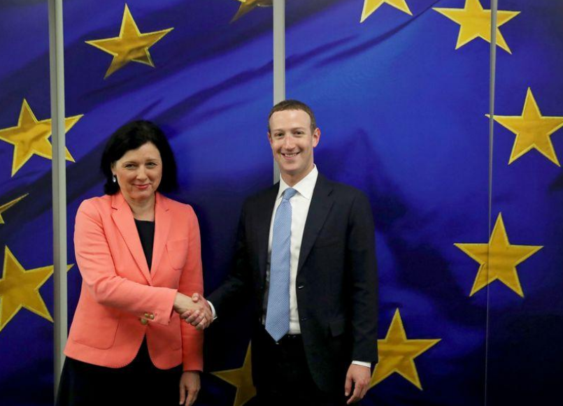 Facebook Chairman and CEO Mark Zuckerberg meets with European Commissioner for Values and Transparency Vera Jourova