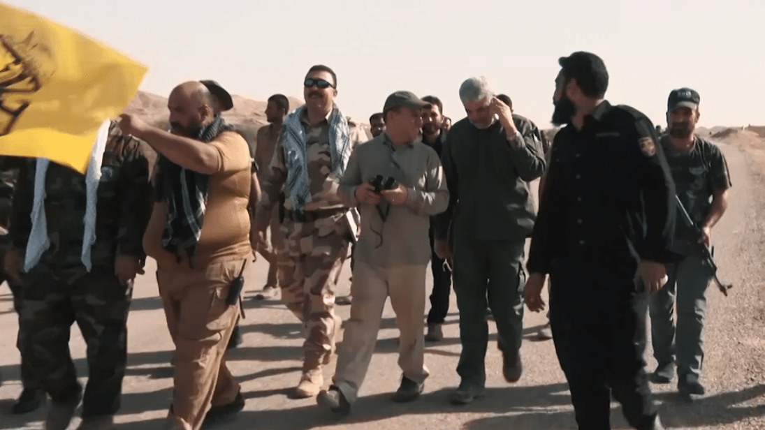 Pro-Iranian militia forces with Iranian advisors during Hawija offensive in 2017.