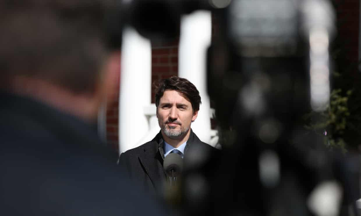 The Canadian prime minister, Justin Trudeau, speaks during a news conference on the Covid-19 situation