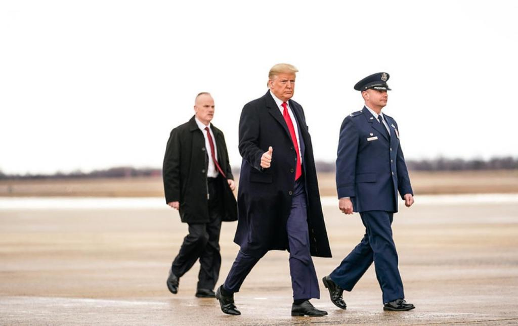 President Trump with Air Force Col. D.W. Schmidt at Joint Base Andrews, Md. The White House
