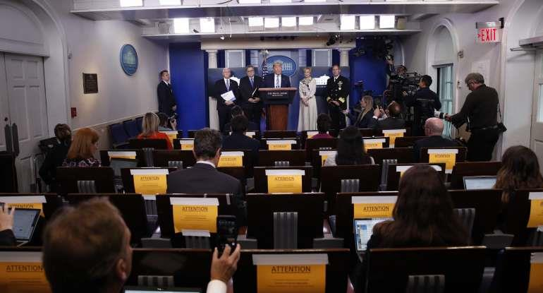 President Donald Trump speaks about the coronavirus in the James Brady Briefing Room, Monday, March 23, 2020, in Washington.