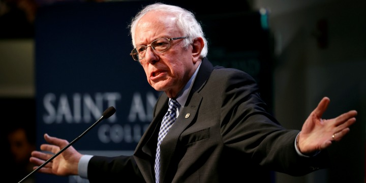 Democratic US presidential candidate Senator Bernie Sanders speaks at the Politics and Eggs event at the New Hampshire Institute of Politics at Saint Anselm College in Manchester,