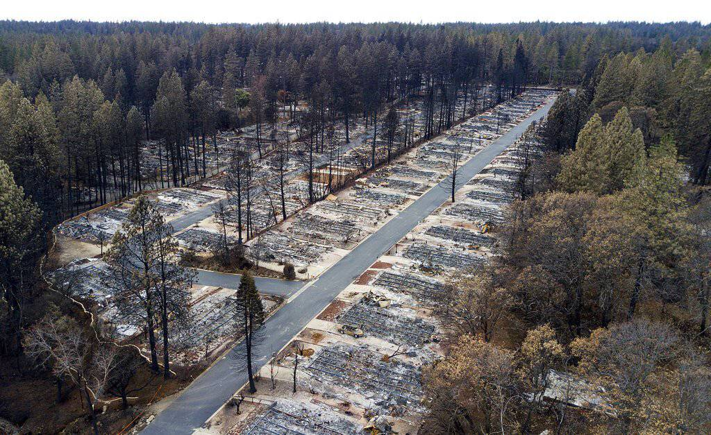 Homes are seen in 2018, leveled by the Camp Fire in Paradise, Calif. (AP Photo/Noah Berger,File)