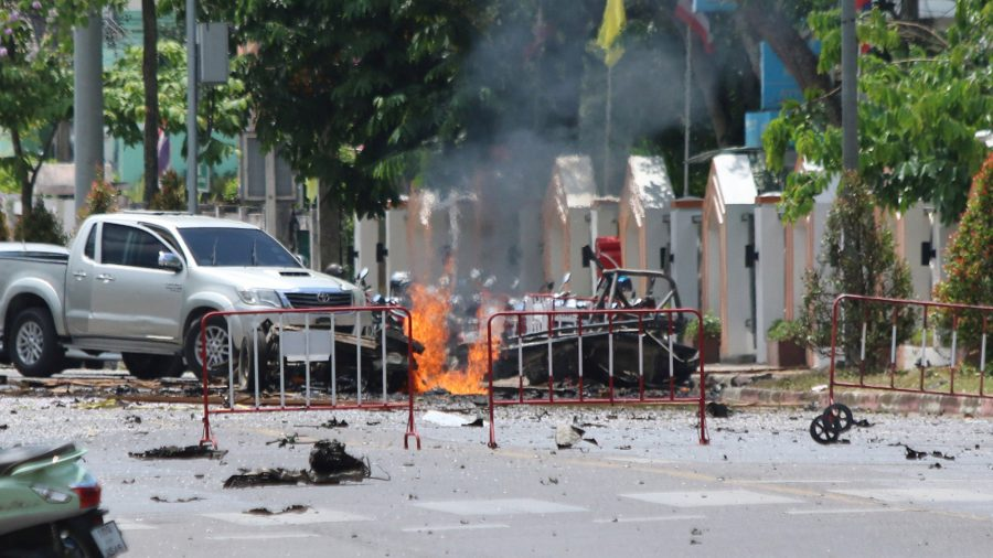 A car bomb in front of the government's Southern Border Provinces Administrative Center in Yala, Thailand, on March 17, 2020.