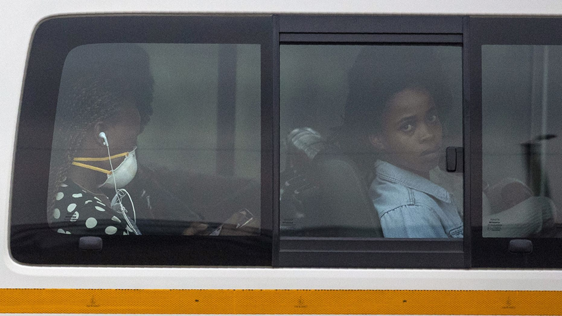 Passengers sit inside a minibus taxi on their way home to Kwa-Thema, a town east of Johannesburg, South Africa, on Tuesday.