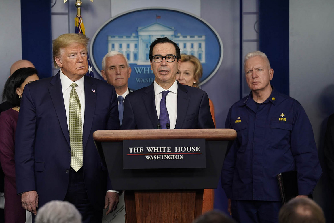 Treasury Secretary Steven Mnuchin speaks during a press briefing with the coronavirus task force, at the White House on Tuesday.