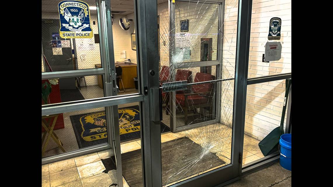 A road-rage victim who went to a Connecticut State Police station Sunday seeking help ended up in jail, after failing a breathalyzer test and smashing the front doors, according to state police.
