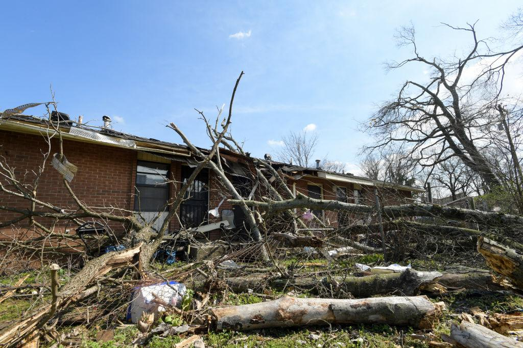 Buildings damaged by the storm are seen in the Germantown neighborhood following devastating tornadoes on March 03, 2020