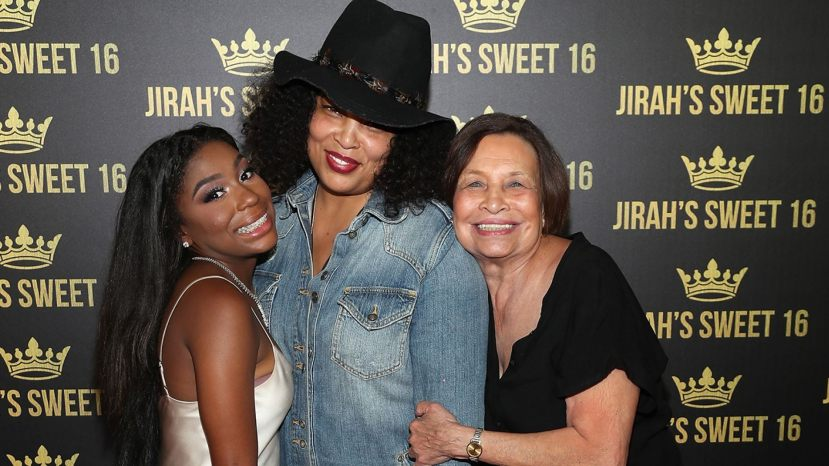 Jirah Mayweather, left, Josie Harris, center and Elsie Harris attend Jirah Mayweather'sSweet 16 Birthday Party at Hyatt In Valencia, Calif., on June 20, 2019.