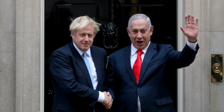 British Prime Minister Boris Johnson welcomes Israeli Prime Minister Benjamin Netanyahu at 10 Downing Street in London, Sept. 5, 2019.