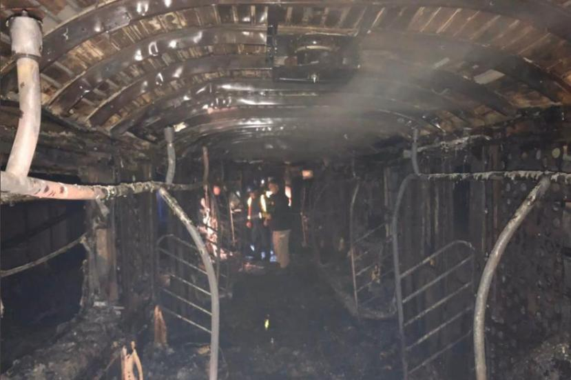A fire on a New York City subway car, seen here destroyed in the fire, killed one person and injured at least 16,
