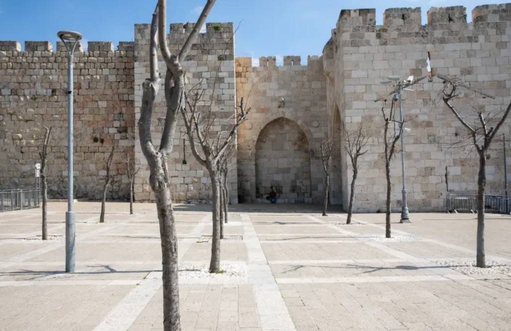 General view of the empty square outside the Jaffa Gate in the Old City of Jerusalem on March 16, 2020.