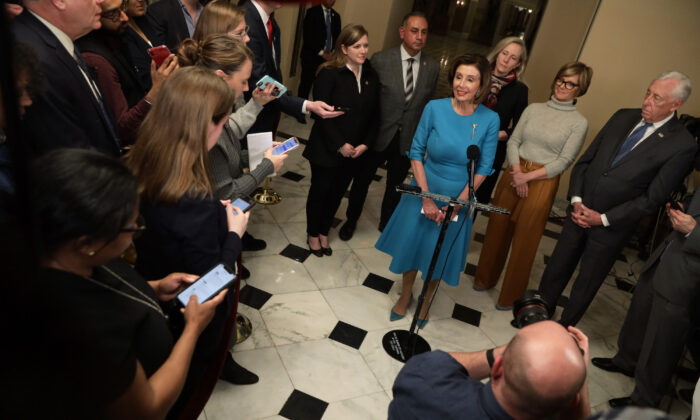 Speaker of the House Rep. Nancy Pelosi (D-CA) speaks to members of the media in Washington, on March 13, 2020.