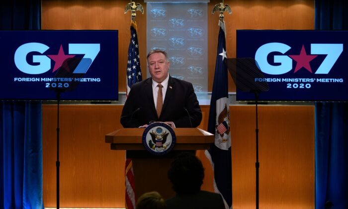 Secretary of State Mike Pompeo speaks during a press conference at the State Department in Washington on March 25, 2020.