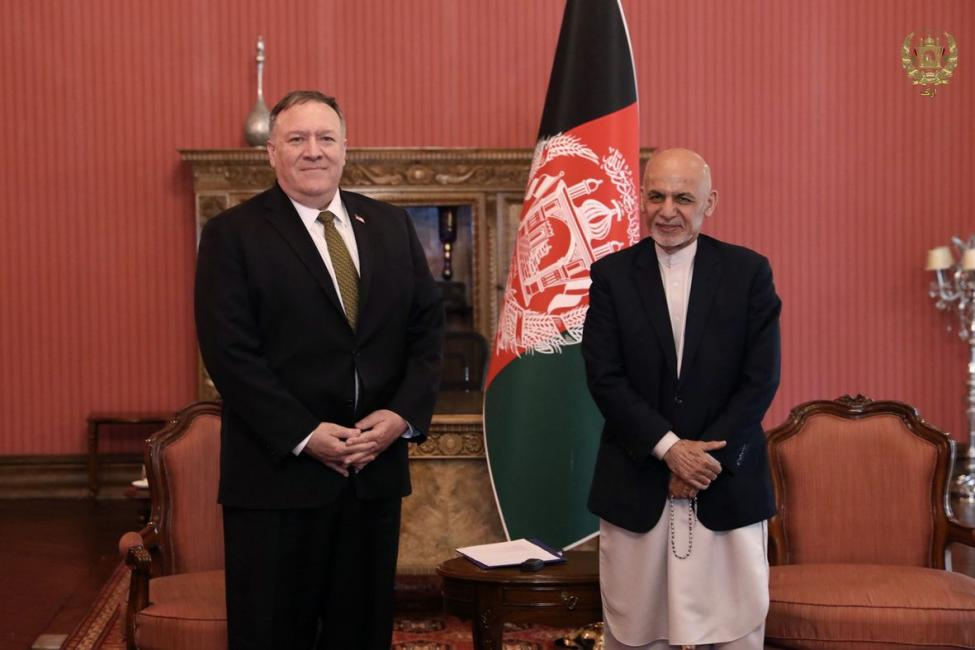 U.S. Secretary of State Mike Pompeo (L) and Afghan President Ashraf Ghani meet in Kabul, Afghanistan,
