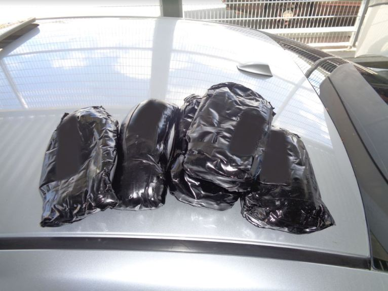 U.S. Border Patrol agents arrested two men near Temecula on March 11 after five bundles of heroin were found in their car during a traffic stop.