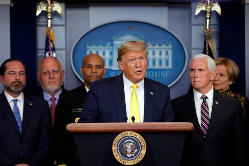 President Donald Trump speaks in the Brady press briefing room of the White House in Washington, Monday, March, 9, 2020,