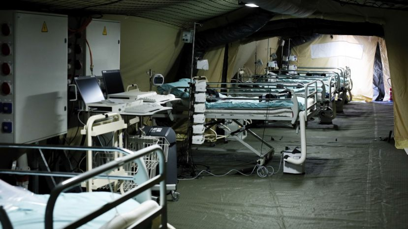 Beds line up at the military field hospital in eastern border city of Mulhouse on Tuesday.