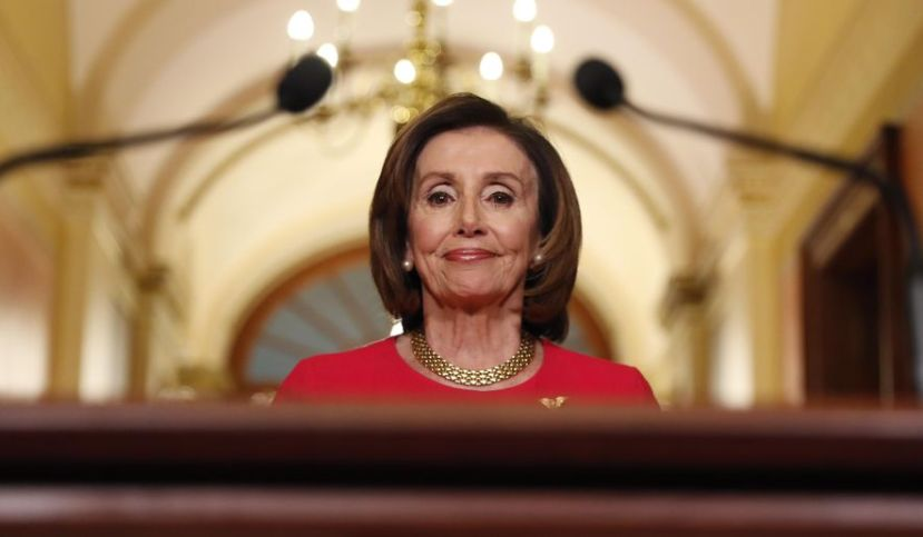 House Speaker Nancy Pelosi of Calif., arrives to speak outside her office on Capitol Hill, Monday, March 23, 2020.