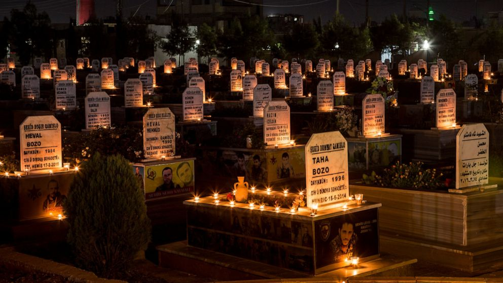 FILE - In this Oct. 31, 2019 file photo, candles are lit on the graves of people killed during Syrian war, in the town of Qamishli, north Syria