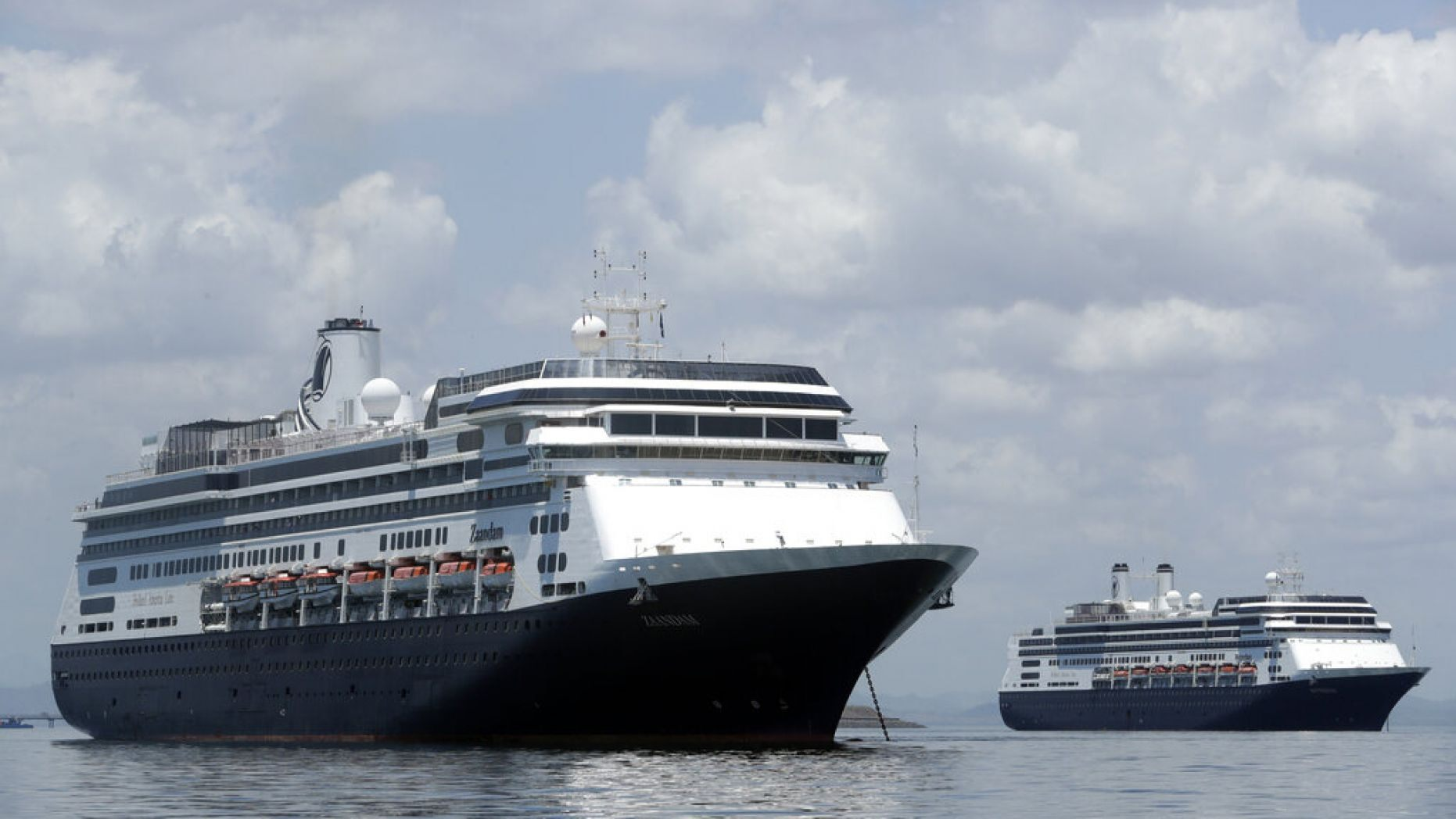 The Zaandam cruise ship, left, us carrying 189 guests and crew (73 and 116, respectively) who reported feeling ill,
