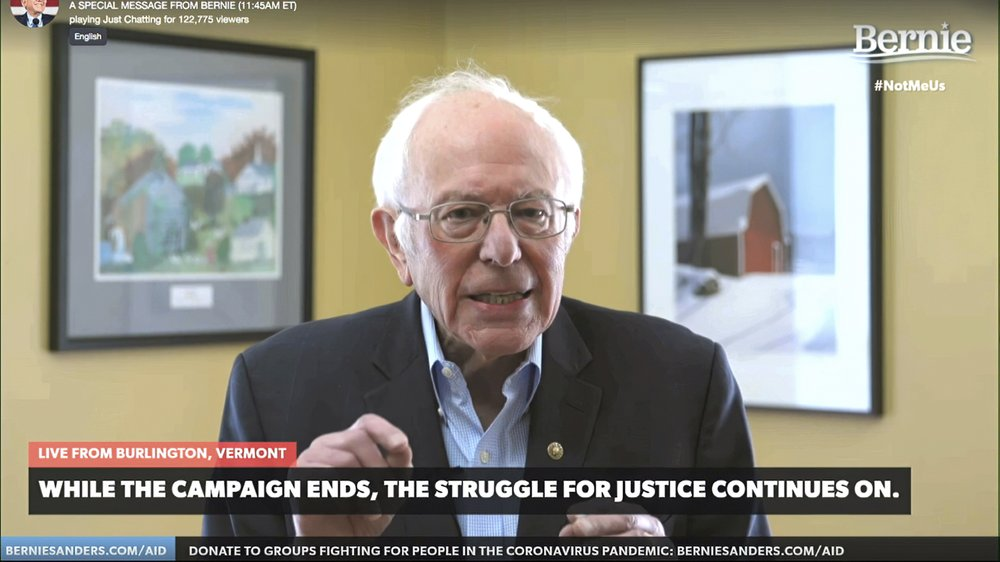 This image from video provided by the Bernie Sanders presidential campaign shows Sen. Bernie Sanders, I-Vt., as he announces he is ending his presidential campaign Wednesday,