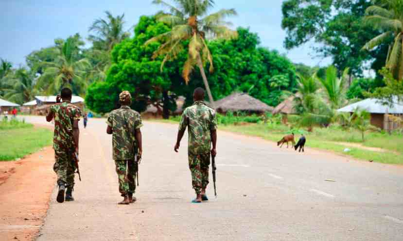 Soldiers from the Mozambican army on patrol amid rising Islamist attacks