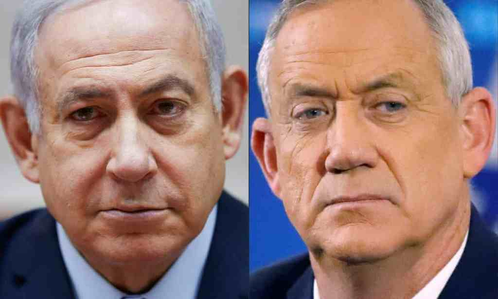 Netanyahu (left) and Gantz. Photograph: Oded Balilty/AFP via Getty Images